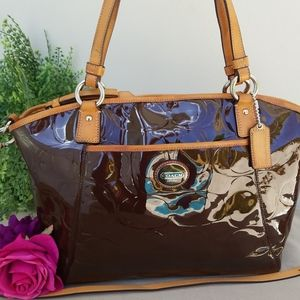 Coach Peyton Brown Signature Patent Leather Tote H
